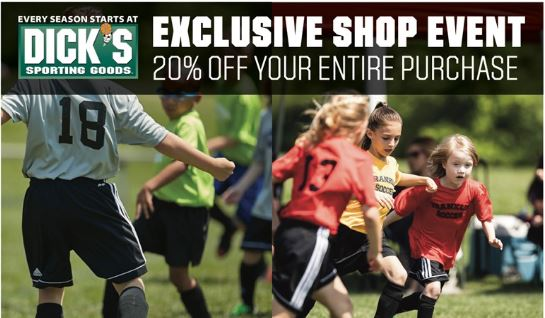 Dick's Sporting Goods 20% off Weekend